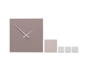 Picture of CALLEA DESIGN KUBO MODERN WALL CLOCK COMPOSABLE PLUM GREY CLOCK