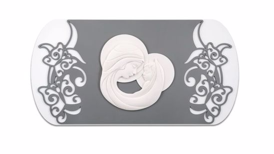 Picture of MEMORY WALL ART ABOVE BED MADONNA AND CHILD GREY WITH BUTTERFLIES DECORATION