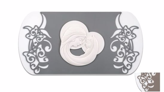 Picture of MEMORY WALL ART ABOVE BED MADONNA AND CHILD GREY-BROWN BACKGROUND WITH BUTTERFLIES ENGRAVING DECORATION