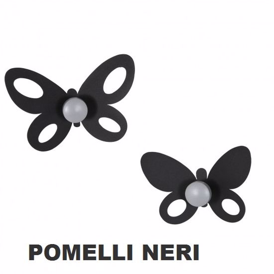 Picture of ARTI E MESTIERI BUTTERFLY SET OF 2 WALL HOOKS BLACK COLOUR