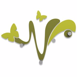 Picture of CALLEA DESIGN MODERN WALL COAT HOOKS BUTTERFLY OLIVE GREEN
