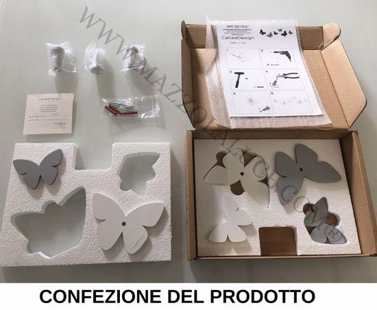 Picture of CALLEA DESIGN MODERN WALL HOOKS 6 BUTTERFLIES DOVE GREY