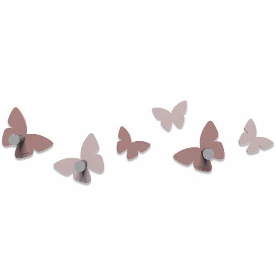Picture of CALLEA DESIGN MODERN WALL HOOKS 6 BUTTERFLIES CLOUD PINK