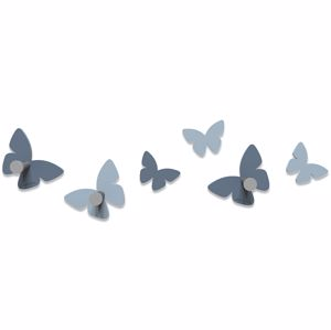 Picture of CALLEA DESIGN MODERN WALL HOOKS 6 BUTTERFLIES MID BLUE