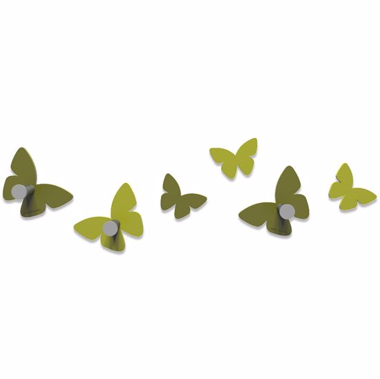 Picture of CALLEA DESIGN MODERN WALL HOOKS 6 BUTTERFLIES OLIVE GREEN