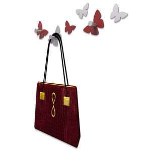 Picture of CALLEA DESIGN MODERN WALL HOOKS 6 BUTTERFLIES RUBY