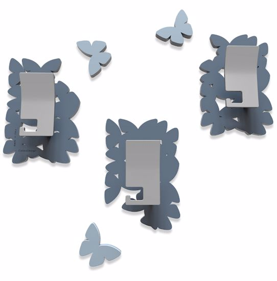 Picture of CALLEA DESIGN MODERN COAT HOOKS WALL MOUNTED BUTTERFLIES MID BLUE