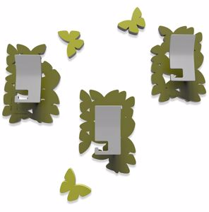 Picture of CALLEA DESIGN MODERN COAT HOOKS WALL MOUNTED BUTTERFLIES OLIVE GREEN