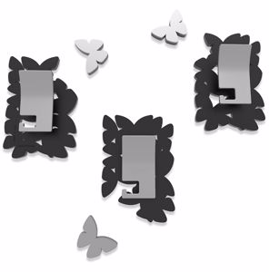 Picture of CALLEA DESIGN MODERN COAT HOOKS WALL MOUNTED BUTTERFLIES BLACK
