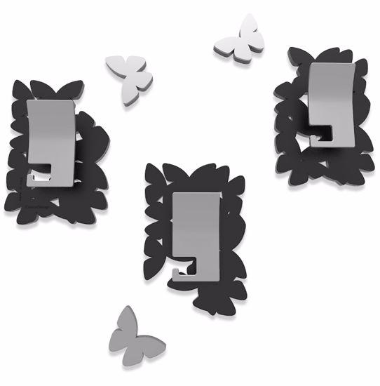 Picture of CALLEA DESIGN MODERN COAT HOOKS WALL MOUNTED BUTTERFLIES BLACK
