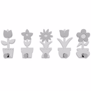 Picture of CALLEA DESIGN MODERN COAT RACK HOOKS LITTLE FLOWERS WHITE GREY