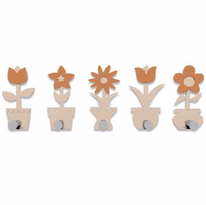 Picture of CALLEA DESIGN MODERN COAT RACK HOOKS LITTLE FLOWERS PINK SAND