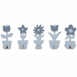 Picture of CALLEA DESIGN MODERN COAT RACK HOOKS LITTLE FLOWERS POWDER BLUE