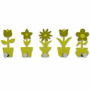 Picture of CALLEA DESIGN MODERN COAT RACK HOOKS LITTLE FLOWERS CEDAR GREEN