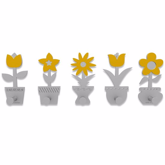 Picture of CALLEA DESIGN MODERN COAT RACK HOOKS LITTLE FLOWERS MELON