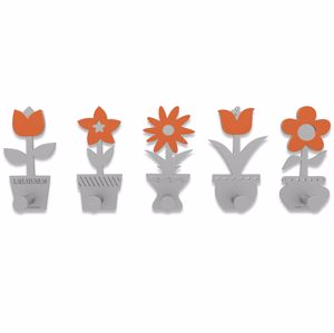 Picture of CALLEA DESIGN MODERN COAT RACK HOOKS LITTLE FLOWERS ORANGE