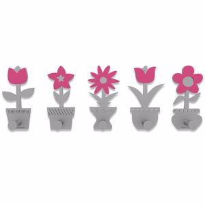 Picture of CALLEA DESIGN MODERN COAT RACK HOOKS LITTLE FLOWERS FUCHSIA