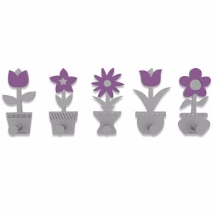 Picture of CALLEA DESIGN MODERN COAT RACK HOOKS LITTLE FLOWERS PURPLE