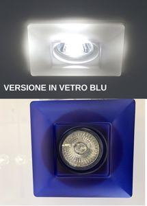 Picture of FARETTO DA INCASSO VETRO BLU PER CONTROSOFFITTO QUADRATO GU10 LED