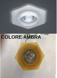 Picture of FARETTO DA INCASSO PER CONTROSOFFITTO VETRO AMBRA GU10 LED