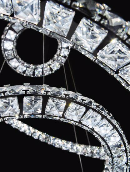Picture of LED PENDANT LIGHT SINGLE RING Ø50 IN CRYSTAL AND CLEAR RHINESTONES