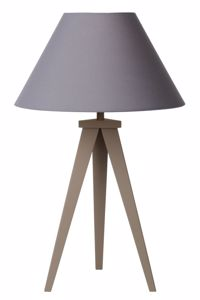 Picture of ABAT-JOUR LAMPADA DA TAVOLO IN LEGNO PARALUME TONALITA'' GRIGIO MODERNA