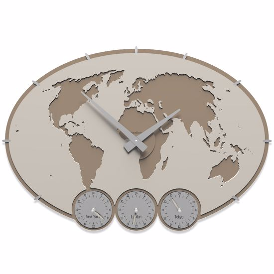 Picture of CALLEA DESIGN GREENWICH WALL CLOCK PLANISPHERE WITH TIME ZONES LINO COLOUR