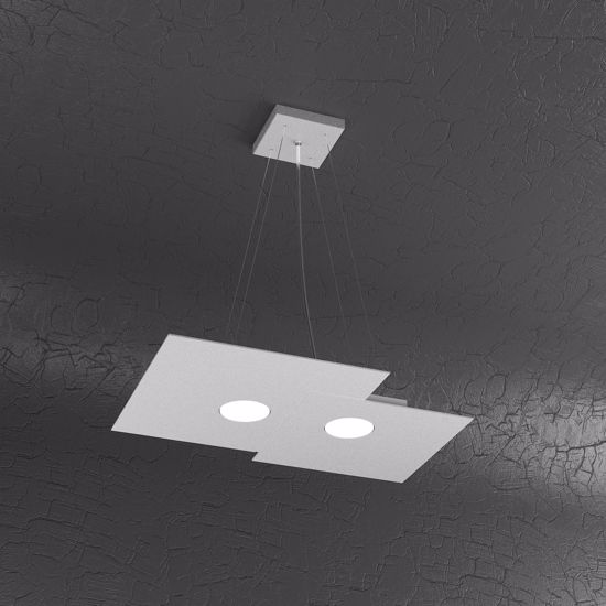 Picture of GREY LED PENDANT LIGHT RECTANGULAR DESIGN TOPLIGHT PLATE 2 LIGHTS