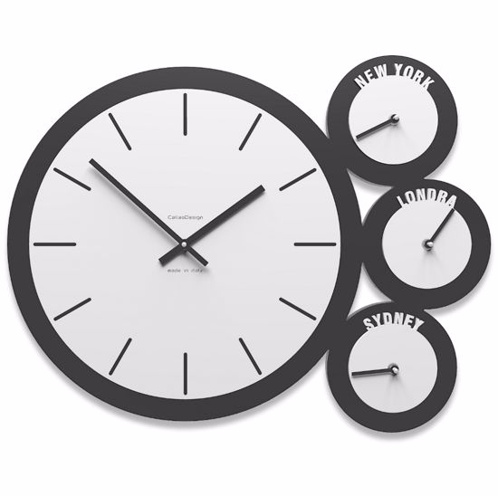 Picture of WALL CLOCK TIME ZONES WHITE