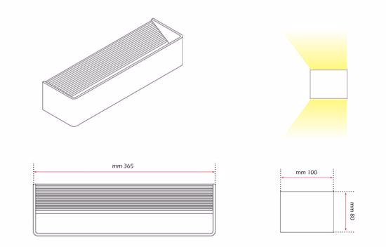 Picture of LED WALL LIGHTS BIG CUBE 12W IN METAL 36CM ISYLUCE