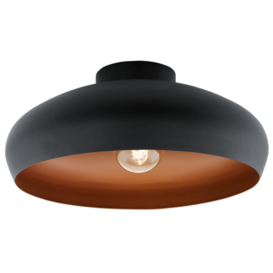 Picture of VINTAGE CEILING LIGHT BLACK OUTSIDE AND NUT INSIDE RETRO DESIGN