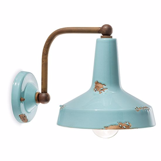 Picture of VINTAGE WALL LIGHT AZURE AGED-EFFECT CERAMIC AND OXIDIZED METAL MADE IN ITALY
