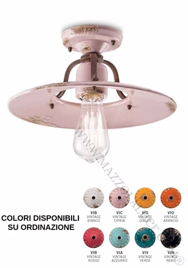 Picture of FERROLUCE CEILING LIGHT Ø30 POWDER PINK AGED EFFECT CERAMIC HANDMADE QUALITY