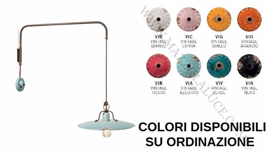 Picture of RETRO SUSPENDED WALL LIGHT AZURE AGED-EFFECT CERAMIC OXIDISED METAL ROTATING ARM