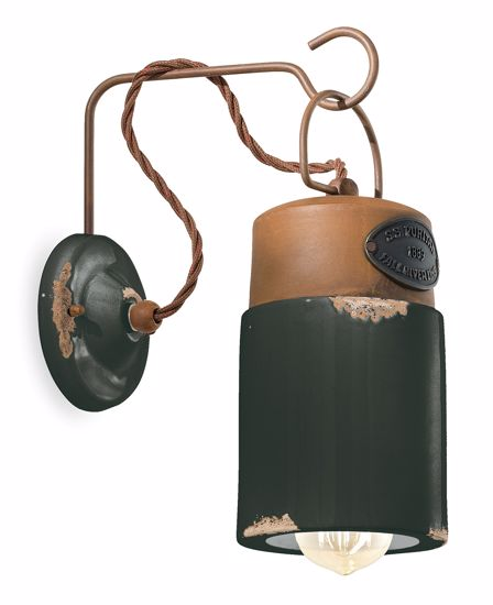 Picture of FERROLUCE INDUSTRIAL WALL LIGHT WHITE AGED-EFFECT CERAMIC AND OXIDIZED METAL DETAILS