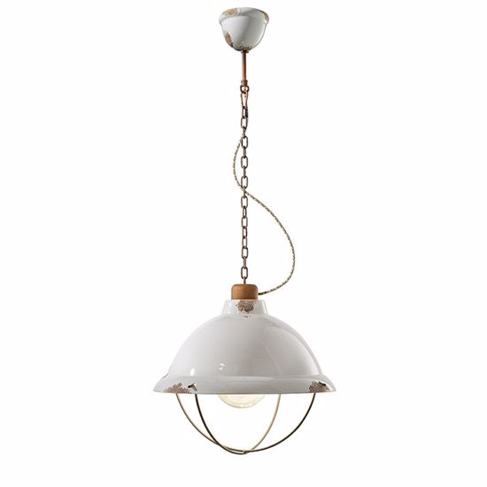 Picture of FERROLUCE RETRO INDUSTRIAL PENDANT LIGHT FOR KITCHEN WHITE AGED-EFFECT CERAMIC AND OXIDISED DETAILS