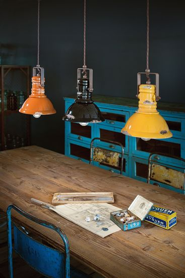 Picture of VINTAGE PENDANT LIGHT FOR KITCHEN INDUSTRIAL STYLE ORANGE AGED-EFFECT CERAMIC FABRIC CABLE METAL DETAILS