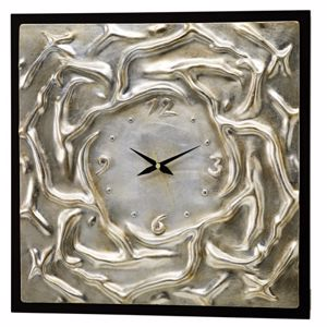 Picture of PINTDECOR ACQUE AGITATE WALL CLOCK ON CANVAS CONTEMPORARY DESIGN GLOSSY SILVER FOIL FINISHING