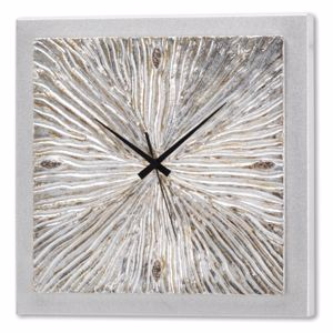 Picture of PINTDECOR FOSSILE WALL CLOCK CEMENT EFFECT CANVAS AND CERAMICS SILVER ELEMENTS