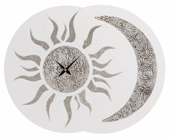 Picture of PINTDECOR SOLE E LUNA WALL CLOCK HAND-DECORATED GLITTERING DETAILS ON IVORY FRAMEWORK