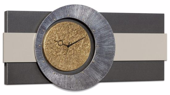 Picture of PINTDECOR ORIONE WALL CLOCK MODERN DESIGN ANTHRACITE CANVAS WITH HAND-DECORATED WITH EMBOSSED SILVER AND GOLD FOIL DETAILS