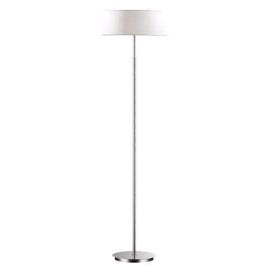 Picture of IDEAL LUX HILTON PT2 CHROME FLOOR LAMP WITH WHITE SHADE