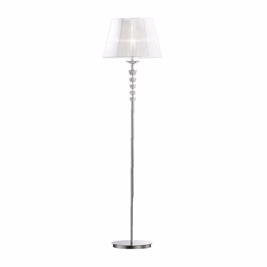 Picture of IDEAL LUX PEGASO PT1 CHROME FLOOR LAMP WITH WHITE SHADE