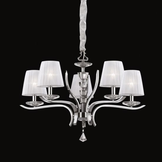 Picture of IDEAL LUX PEGASO PENDANT LAMP WITH SHADES SP5 5ARMS