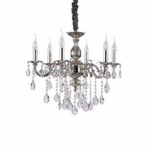Picture of IDEALLUX IMPERO SP6 CHANDELIER SILVER AND CRYSTAL