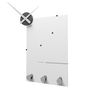 Picture of CALLEA DESIGN OSCAR MODERN WALL CLOCK AND COAT RACK IN WHITE COLOUR