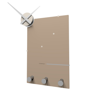 Picture of CALLEA DESIGN OSCAR STYLISH WALL CLOCK AND COAT RACK IN CAFFELATTE COLOUR