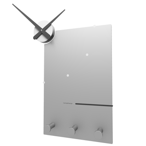 Picture of CALLEA DESIGN OSCAR STYLISH WALL CLOCK AND COAT RACK IN ALUMINIUM COLOUR