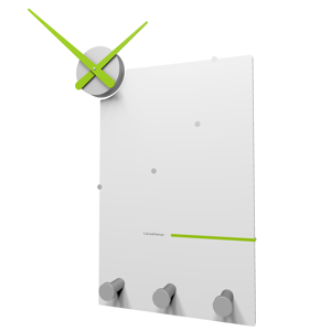 Picture of CALLEA DESIGN OSCAR MODERN WALL CLOCK AND COAT RACK IN APPLE GREEN COLOUR