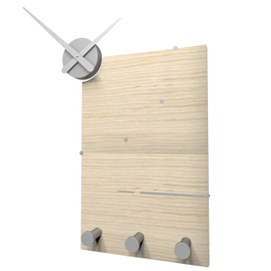 Picture of CALLEA DESIGN OSCAR ORIGINAL WALL CLOCK AND COAT RACK IN PICKLED OAK COLOUR